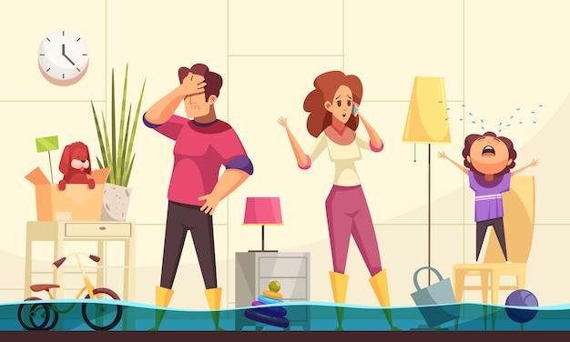 Flache karikatur des überschwemmten hausnotfalls mit dem familienheim, das klempner anruft, um explosionsrohre zu reparieren Kostenlosen Vektoren
