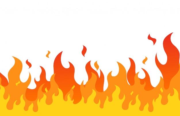 Flache karikaturart der feuerflamme Premium Vektoren