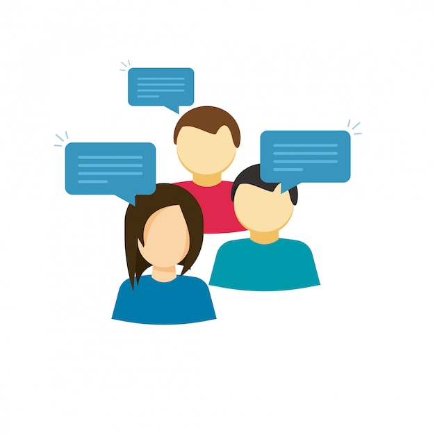 Flache karikaturleute, die oder diskussionsgruppenvektor sprechen Premium Vektoren