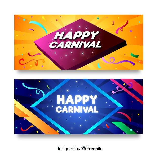 Flache karneval-banner Kostenlosen Vektoren