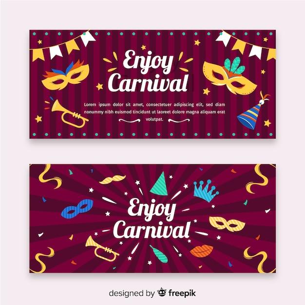 Flache karneval party banner Kostenlosen Vektoren