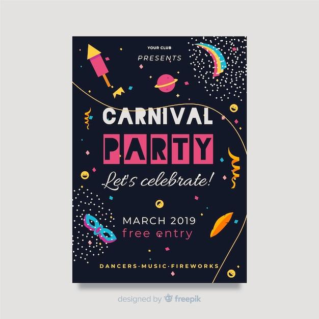 Flache karneval party poster Kostenlosen Vektoren