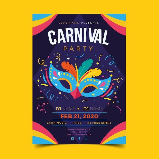Flache karneval-plakatschablone Kostenlosen Vektoren