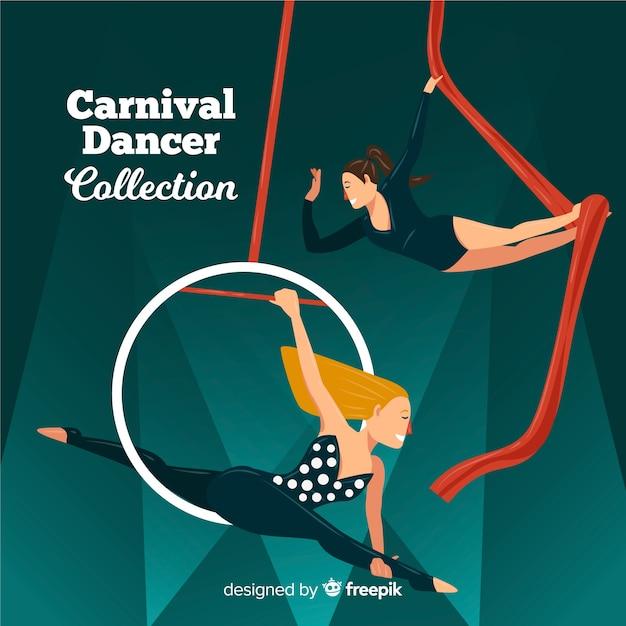 Flache karnevals-tänzersammlung Kostenlosen Vektoren