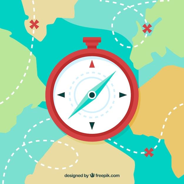 Flache karte kompass hintergrund Premium Vektoren