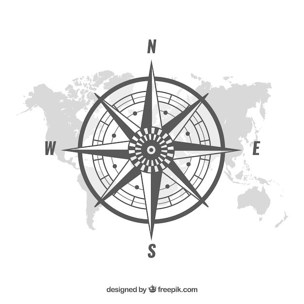Flache karte kompass hintergrund Kostenlosen Vektoren