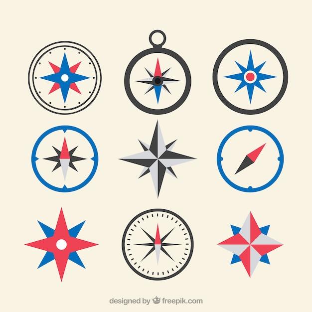 Flache karte kompass sammlung Kostenlosen Vektoren