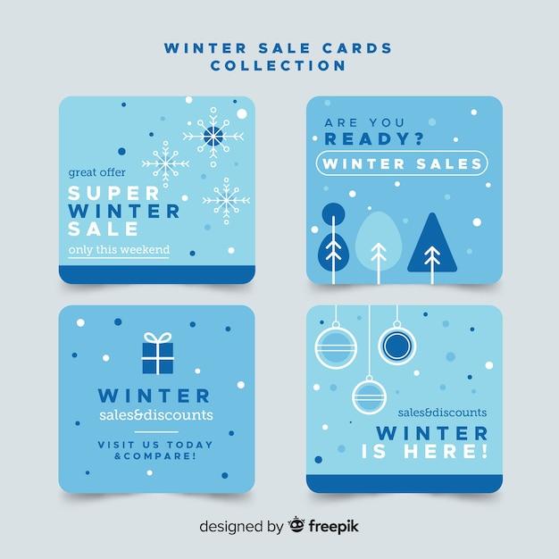 Flache kartensammlung im winterverkauf Kostenlosen Vektoren