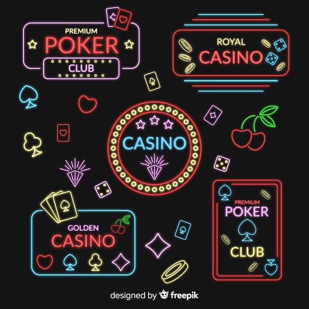 Flache kasino-neonzeichensammlung Kostenlosen Vektoren