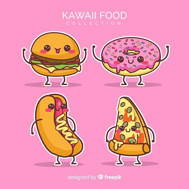Flache kawaii lebensmittelsammlung Kostenlosen Vektoren
