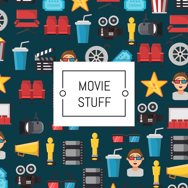 Flache kino icons illustration Premium Vektoren