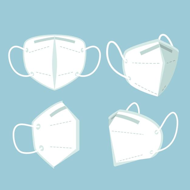 Flache kn95 gesichtsmaske aus verschiedenen perspektiven Kostenlosen Vektoren