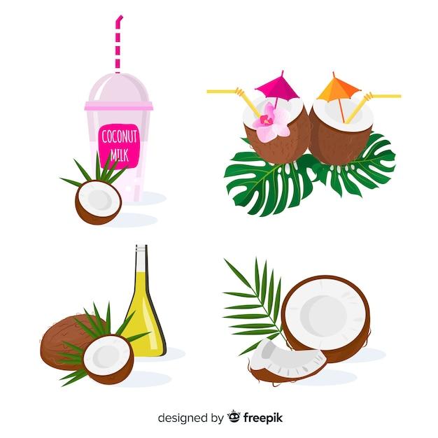 Flache kokosnussprodukte Kostenlosen Vektoren