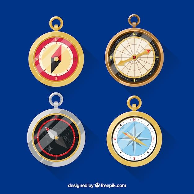 Flache kompass-sammlung Kostenlosen Vektoren