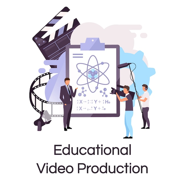 Flache konzeptikone der pädagogischen videoproduktion. tutorial, wissenschaftsvorlesung shooting sticker, clipart. e-learning, video-streaming und bloggen. isolierte karikaturillustration auf weißem hintergrund Premium Vektoren