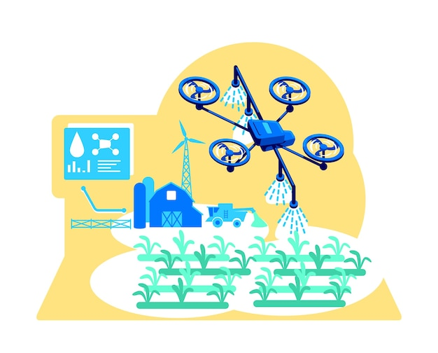 Flache konzeptillustration der futuristischen bewässerung Premium Vektoren