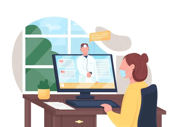 Flache konzeptillustration der online-arztberatung. elektronische gesundheitsversorgung. internet-support für krankenhäuser. 2d-comicfiguren für ärzte und patienten für das webdesign. telemedizin kreative idee Premium Vektoren