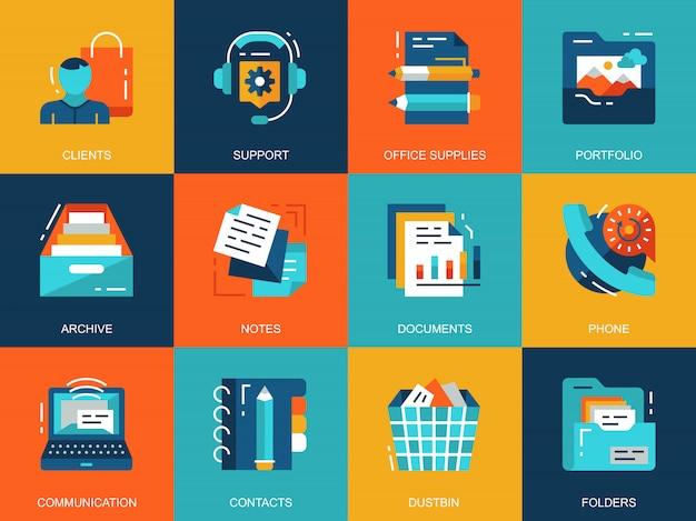 Flache konzeptionelle geschäftskonzept wesentliche ikonen eingestellt Premium Vektoren