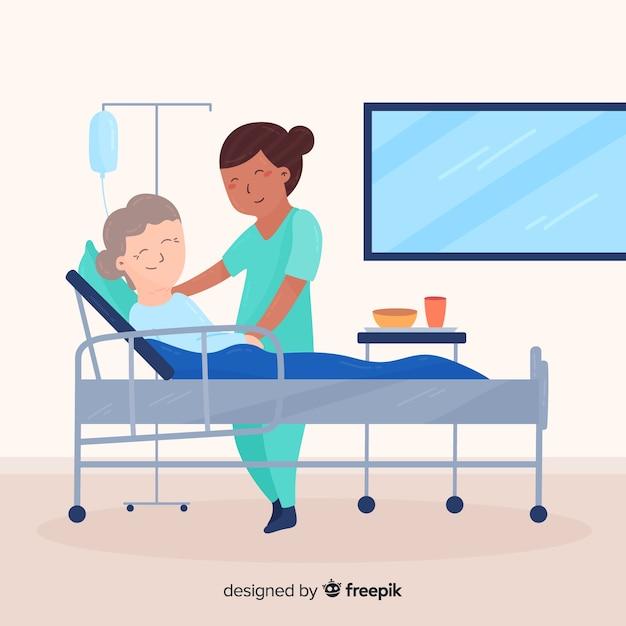 Flache krankenschwester, die auf patienten aufpasst Kostenlosen Vektoren