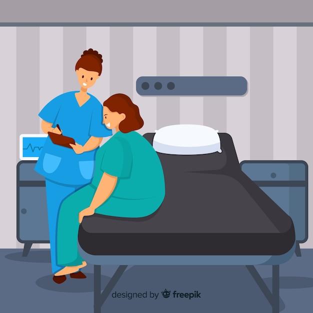 Flache krankenschwester, die geduldigem hintergrund hilft Kostenlosen Vektoren