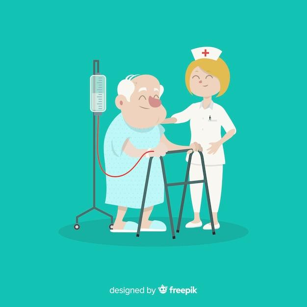 Flache krankenschwester, die patienten hilft Kostenlosen Vektoren
