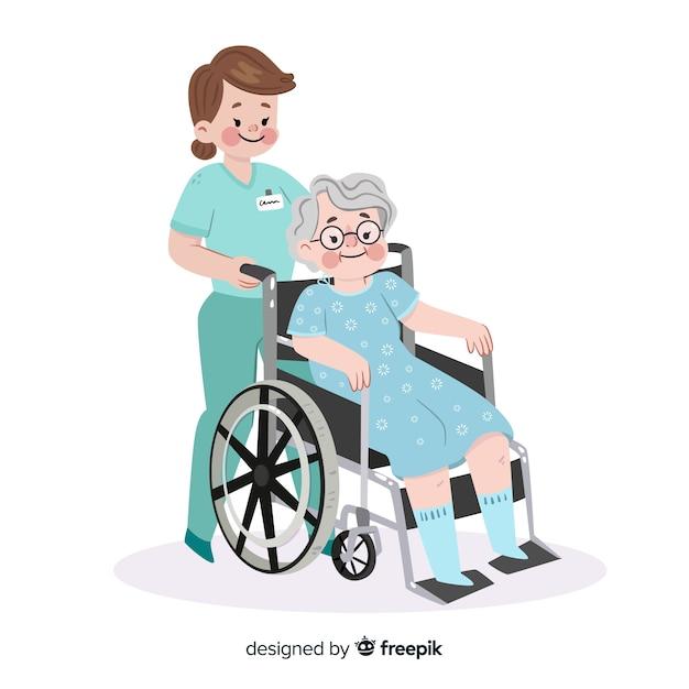 Flache krankenschwester mit patienten Kostenlosen Vektoren