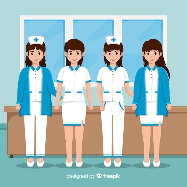 Flache krankenschwester team hintergrund Kostenlosen Vektoren