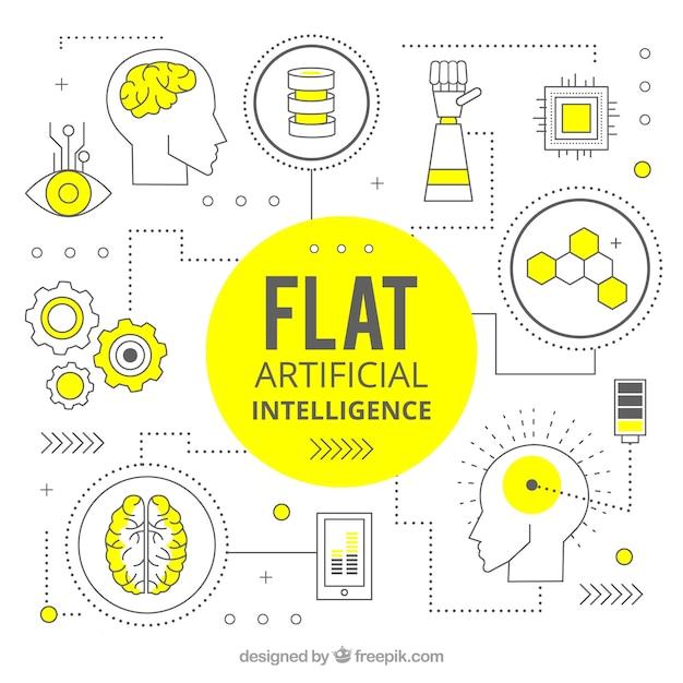 Flache künstliche intelligenz hintergrund Kostenlosen Vektoren