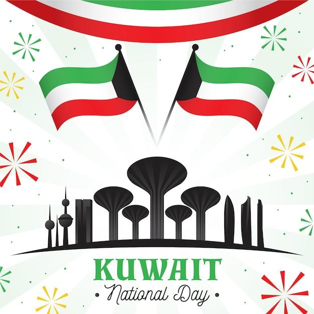 Flache kuwait nationalfeiertagsillustration mit berühmten gebäuden Kostenlosen Vektoren
