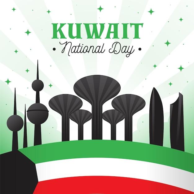 Flache kuwait nationalfeiertagsillustration mit gebäuden Kostenlosen Vektoren