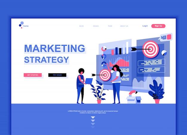 Flache landing-page-vorlage für marketingstrategie Premium Vektoren