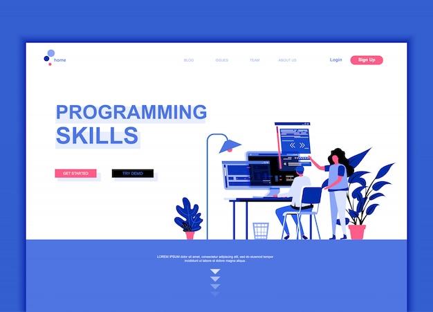 Flache landing-page-vorlage für programmierfertigkeiten Premium Vektoren