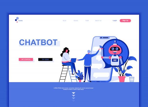 Flache landing-page-vorlage von chat bot Premium Vektoren
