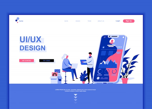 Flache landing-page-vorlage von ux, ui design Premium Vektoren