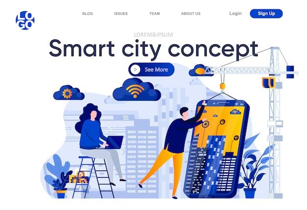 Flache landingpage des smart city-konzepts. entwicklerteam erstellt mobile app für smart house illustration. internet der dinge, drahtlose netzwerk-webseiten-komposition mit personencharakteren. Premium Vektoren