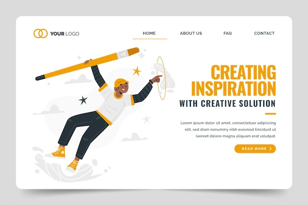 Flache landingpage-vorlage für kreative lösungen Kostenlosen Vektoren