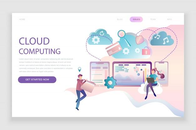 Flache landingpage-vorlage von cloud technology Premium Vektoren