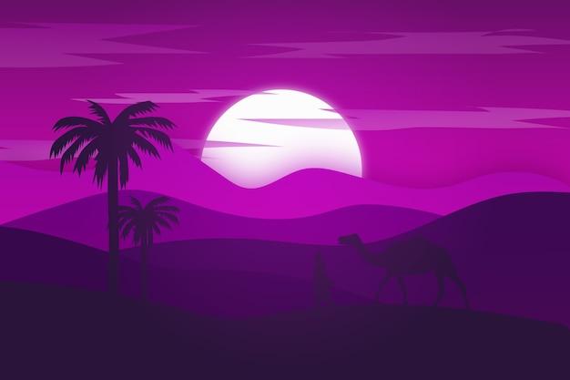 Flache landschaft die wüste ist hellviolett und nachts wunderschön Premium Vektoren