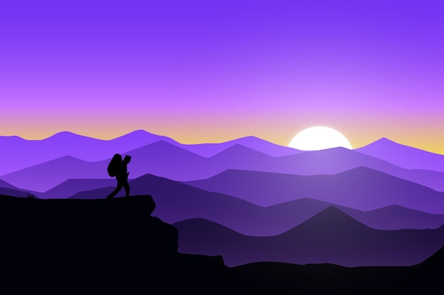 Flache landschaft natur der berge die sonne untergeht Premium Vektoren
