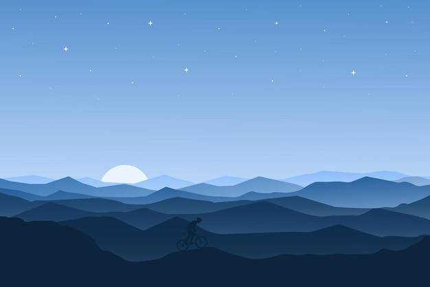 Flache landschaft schöne bergnatur am morgen mit nebel Premium Vektoren