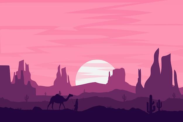 Flache landschaft schöne wüsten natur bergfelsen Premium Vektoren