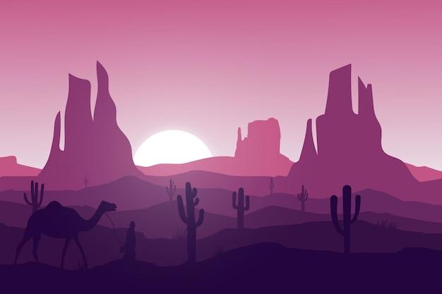 Flache landschaft wüste natur menschen reiten kamele Premium Vektoren