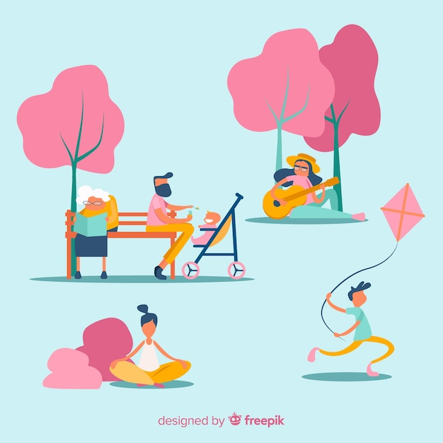 Flache leute, die freizeitaktivitäten im freien tun Kostenlosen Vektoren