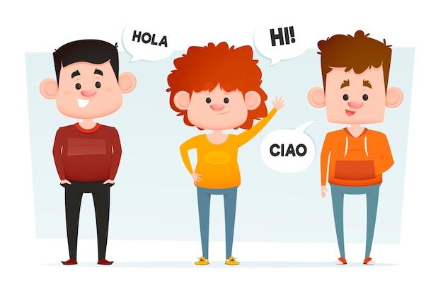 Flache leute, die in verschiedenen sprachen kommunizieren Kostenlosen Vektoren