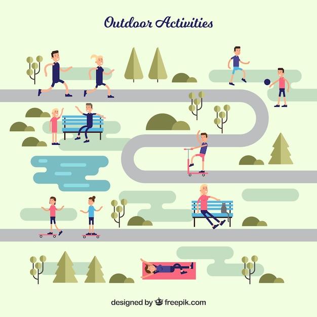Flache leute machen outdoor-aktivitäten Kostenlosen Vektoren