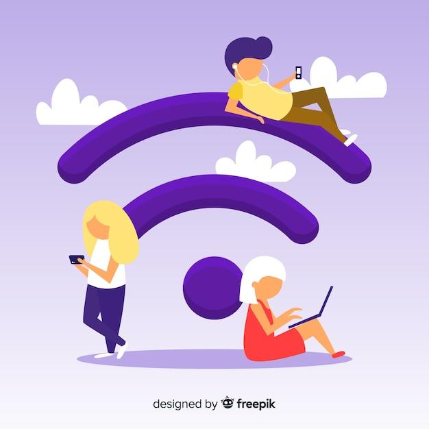Flache leute mit wifi zeichenhintergrund Kostenlosen Vektoren