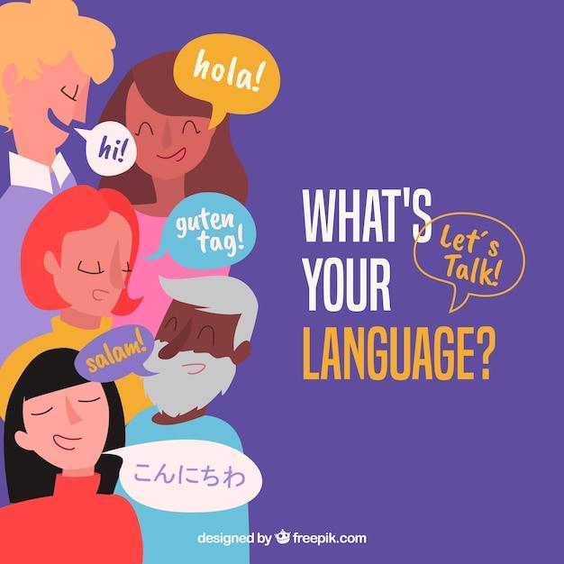 Flache Leute mit Wörtern in den verschiedenen Sprachen Kostenlose Vektoren