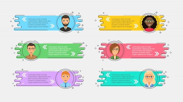 Flache lineare werbebänder mit avataren und zitaten Premium Vektoren