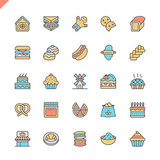 Flache linie bäckerei shop elemente icons set Premium Vektoren