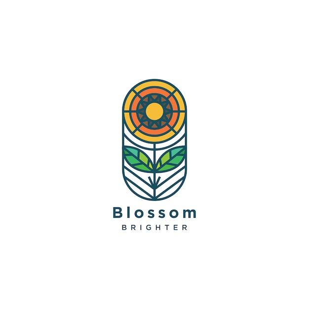 Flache linie blüten-logoillustration Premium Vektoren